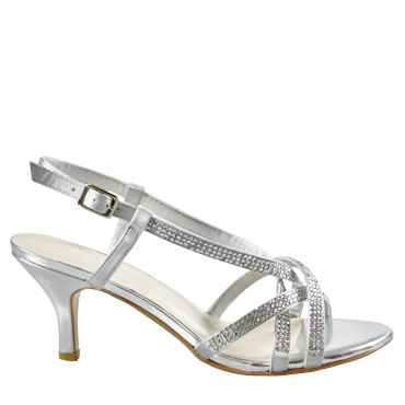 womens, heels, silver, sparkly, strappy, small heel, ladies ...